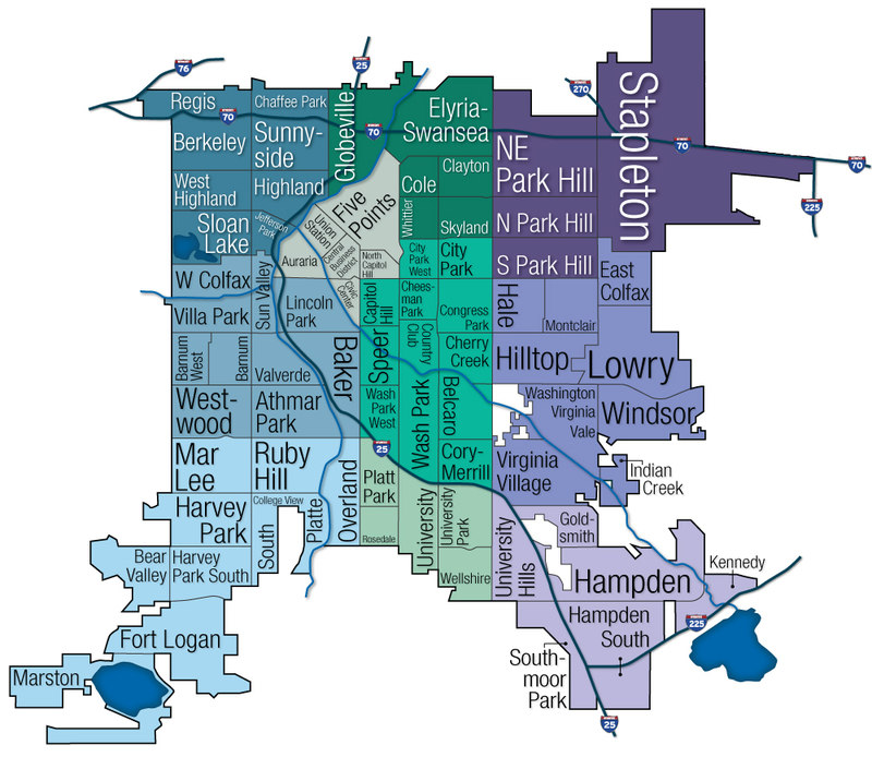 Denver Neighborhood Map  Denver Real Estate